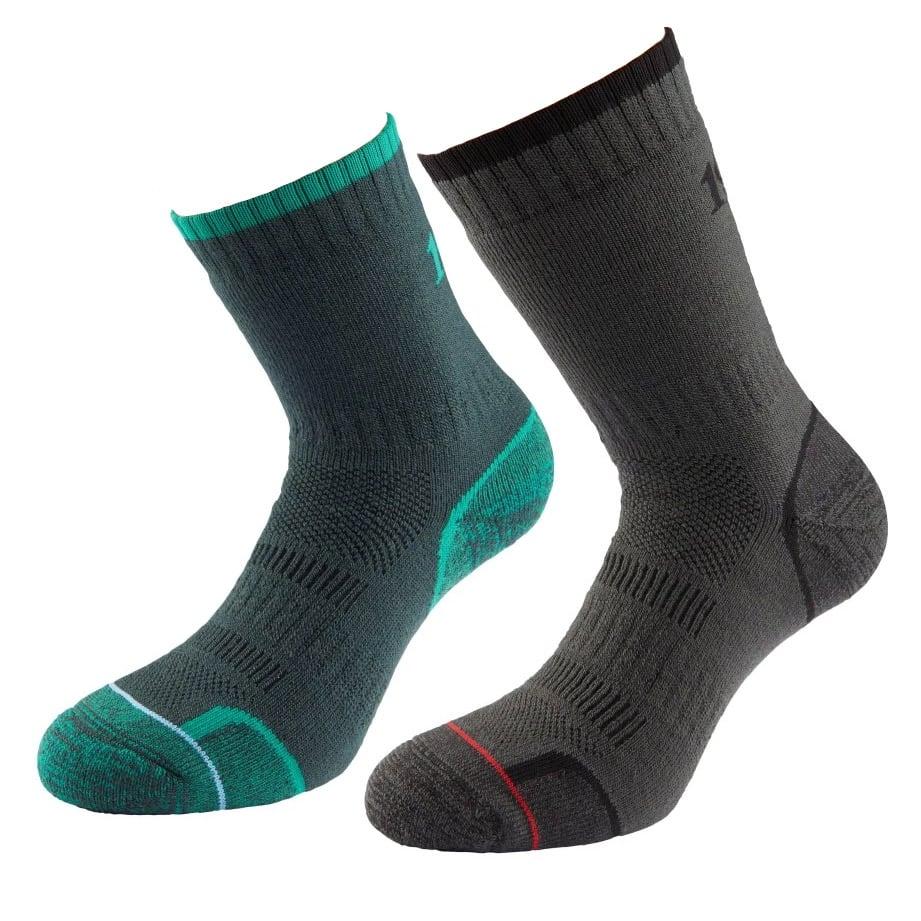 1000 Mile Mens Walking Socks (twin Pack)-emerald / Charcoal-6 - 8.5