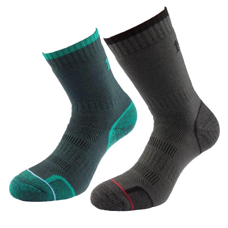 1000 Mile Mens Walking Socks (twin Pack)-emerald / Charcoal-12 - 14