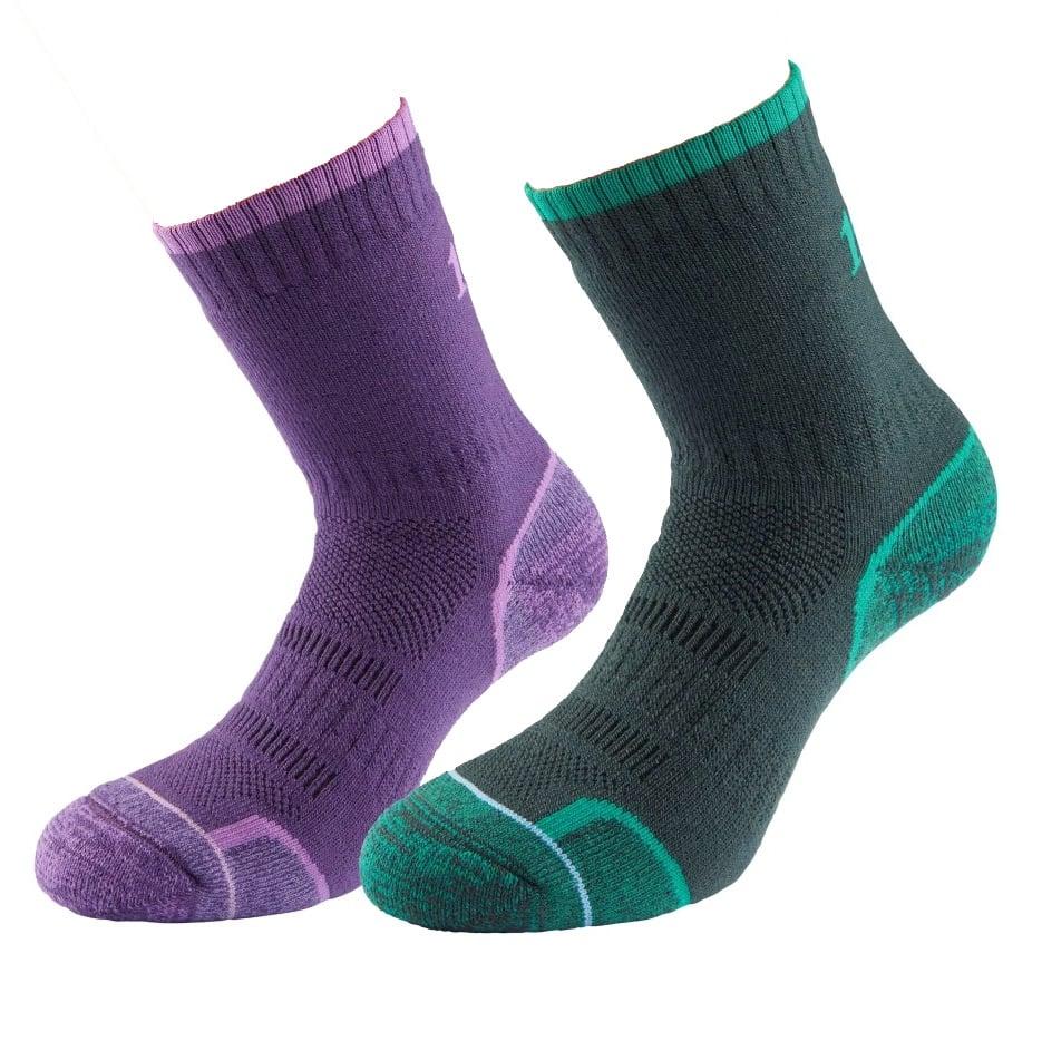 1000 Mile Womens Walking Socks (twin Pack)-purple / Emerald-3 - 5.5