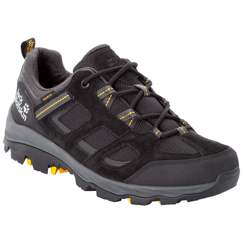 Jack Wolfskin Mens Vojo Iii Low Hiking Shoes-black / Burley Yellow Xt-8