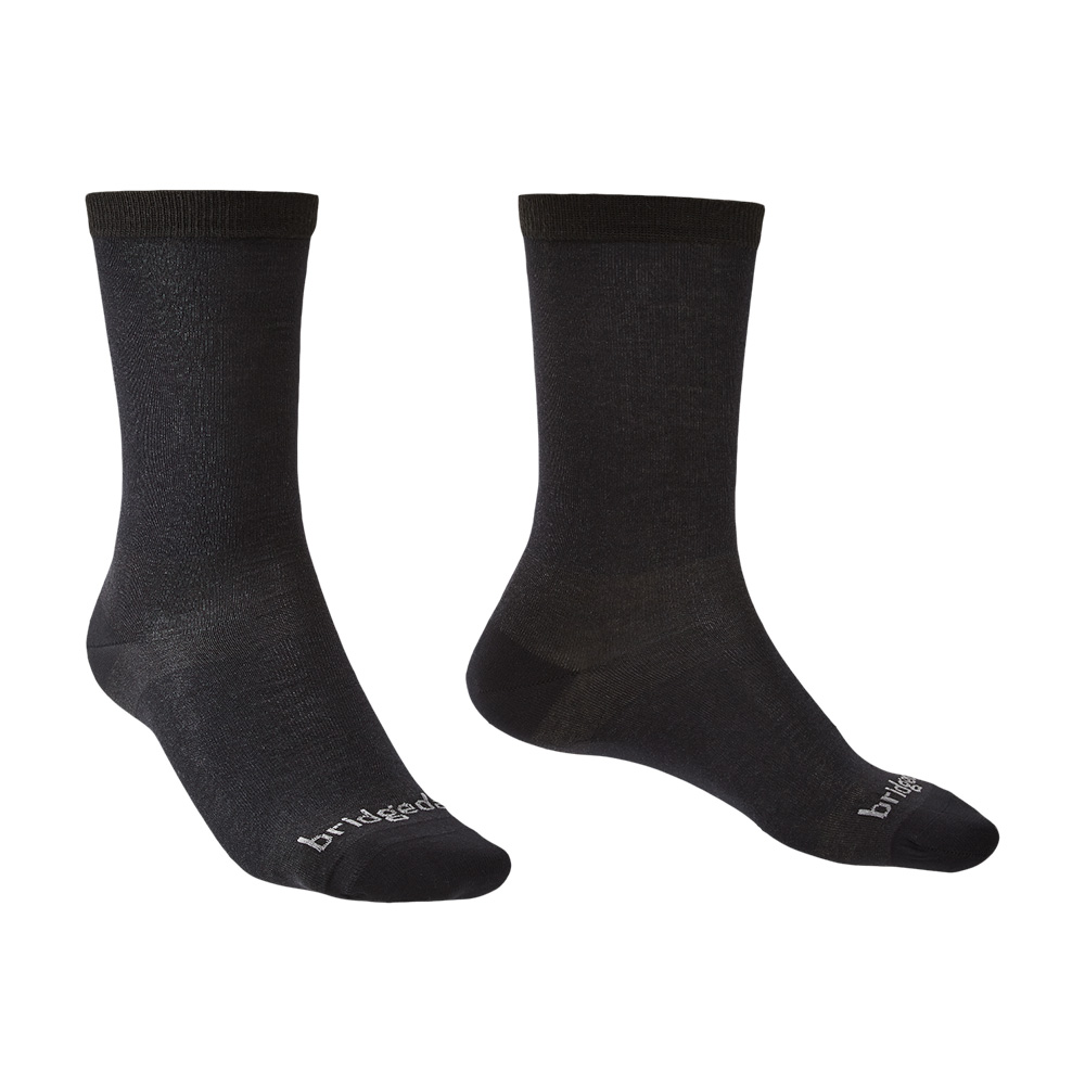 Bridgedale Mens Coolmax Liner Base Layer Boot Socks (2 Pack)-black-6 - 8.5
