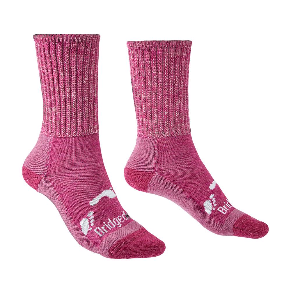 Bridgedale Junior Hike All Season Merino Comfort Boot Socks-pink-12 Junior - 1 Junior