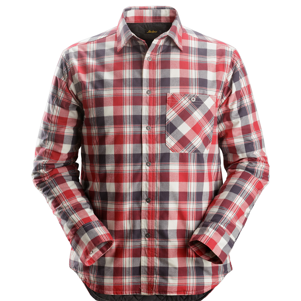 Snickers Mens Ruffwork Padded Flannel Long Sleeved Shirt-red-l