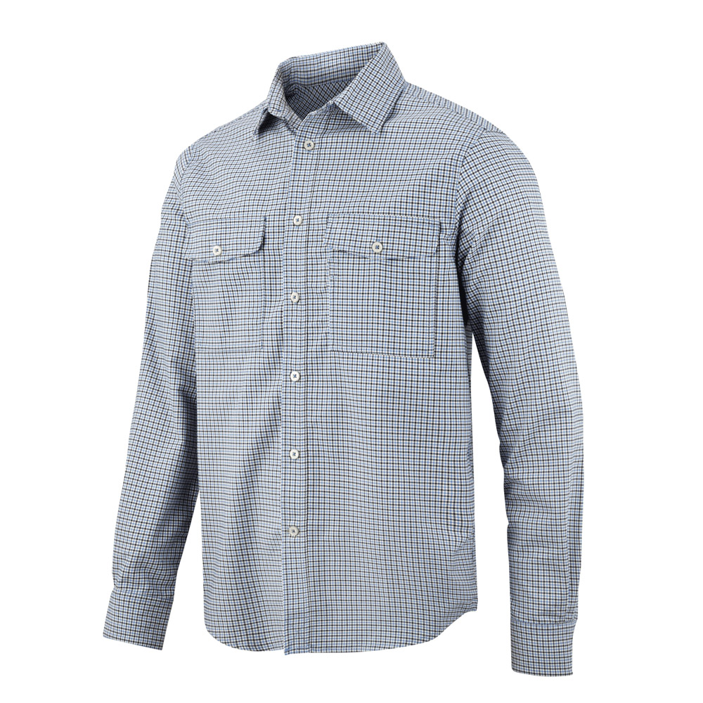 Snickers Allroundwork Comfort Checked Shirt-blue-2xl