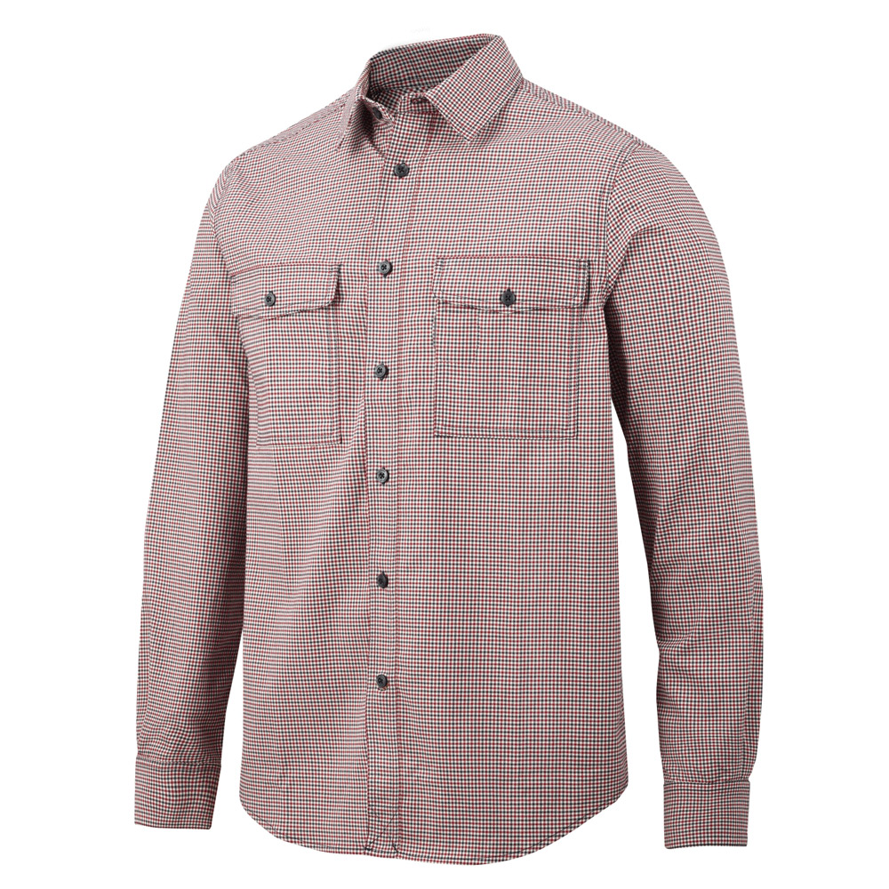 Snickers Allroundwork Comfort Checked Shirt-red-l
