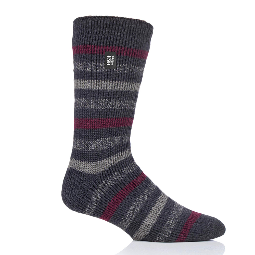 Heat Holders Mens Brambling Original Stripe Socks-charcoal / Mid Grey-6 - 11