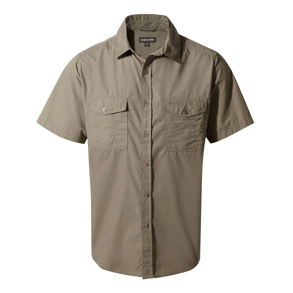 Craghoppers Mens Kiwi Short Sleeved Shirt - Pebble - M