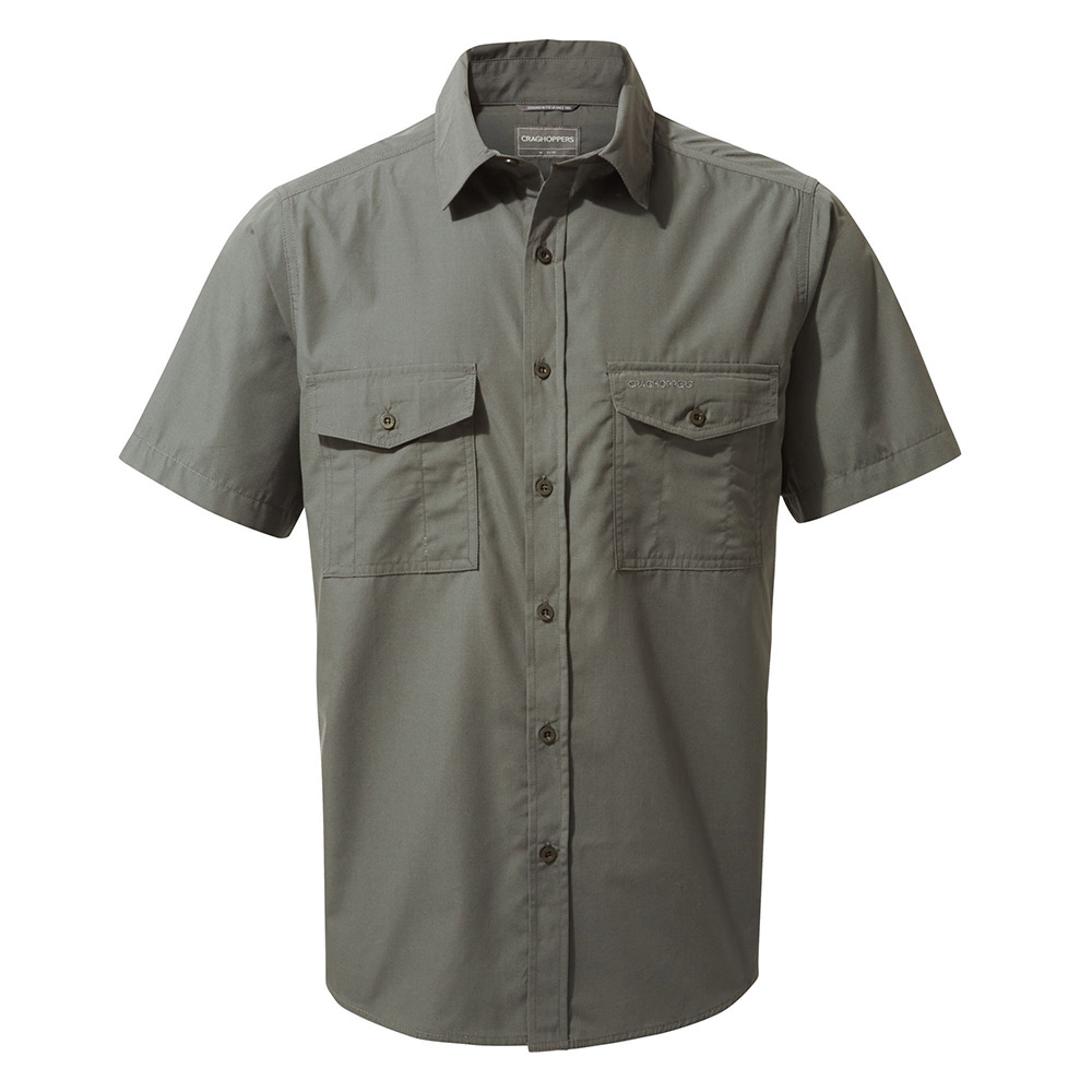 Craghoppers Mens Kiwi Short Sleeved Shirt - Dark Grey - S