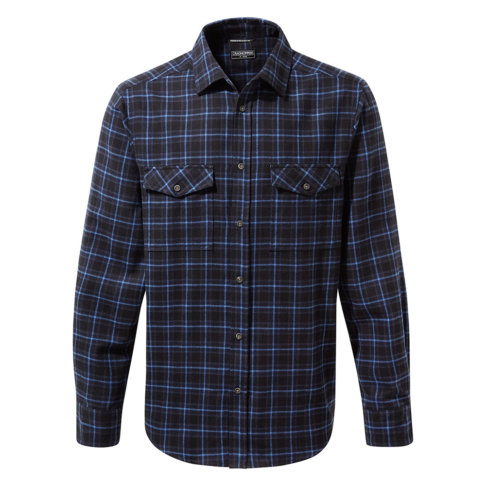 Craghoppers Mens Kiwi Iii Check Long Sleeved Shirt-dark Navy Check-xl