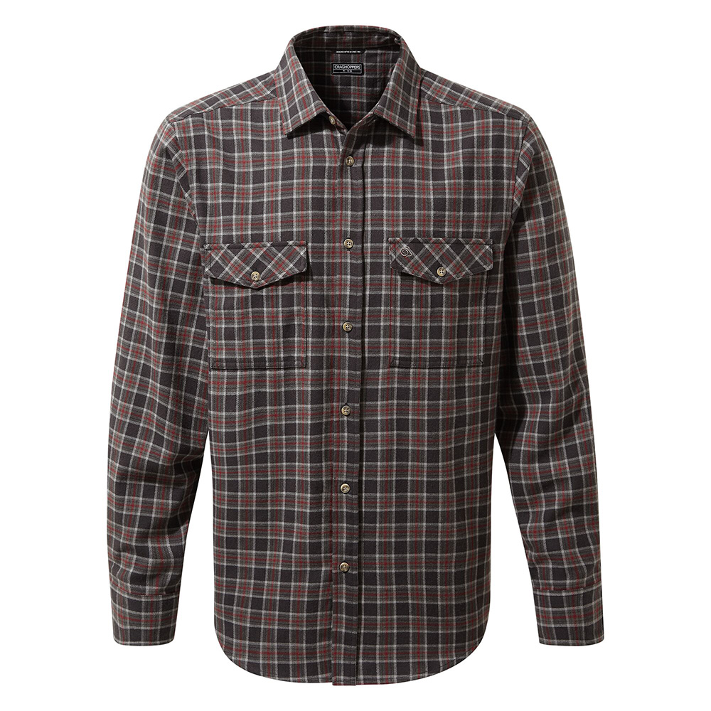 Craghoppers Mens Kiwi Iii Check Long Sleeved Shirt-black Pepper Check-s