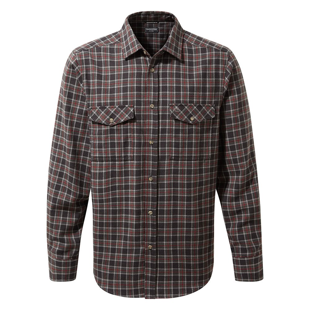 Craghoppers Mens Kiwi Iii Check Long Sleeved Shirt-black Pepper Check-l