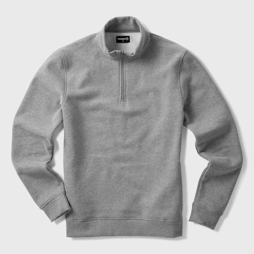 Timbuktu Mens Classic Half Zip Sweatshirt-grey Marl-xl