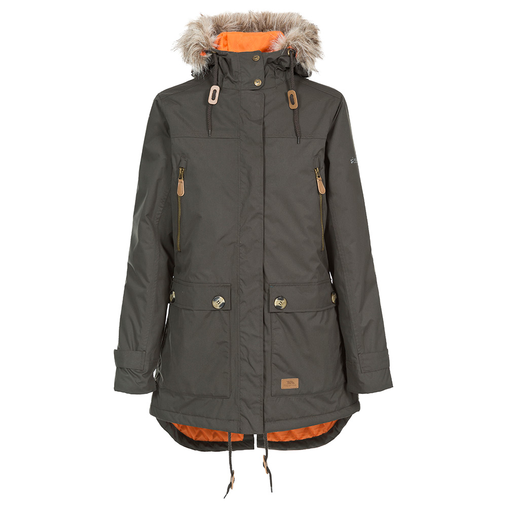 Trespass Womens Clea Waterproof Parka - Dark Khaki - 10