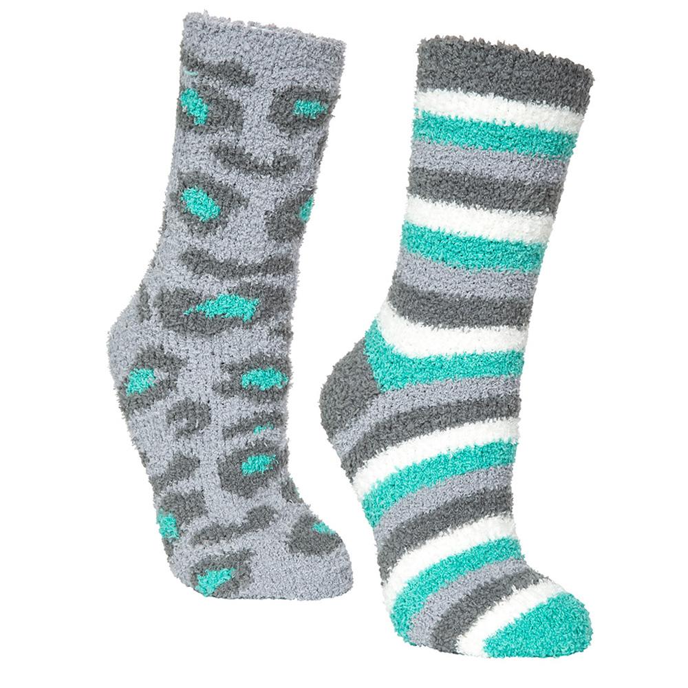 Trespass Womens Snuggie Socks (pair) - Lagoon/leopard