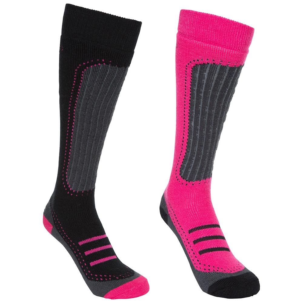 Trespass Womens Janus Ii Ski Sock Twin Pack-black / Cassis-6 - 9