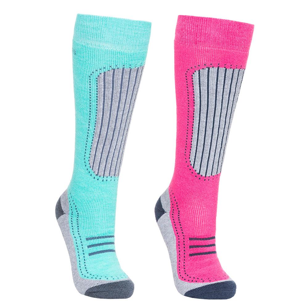 Trespass Womens Janus Ii Ski Sock Twin Pack-lagoon / Pink-6 - 9