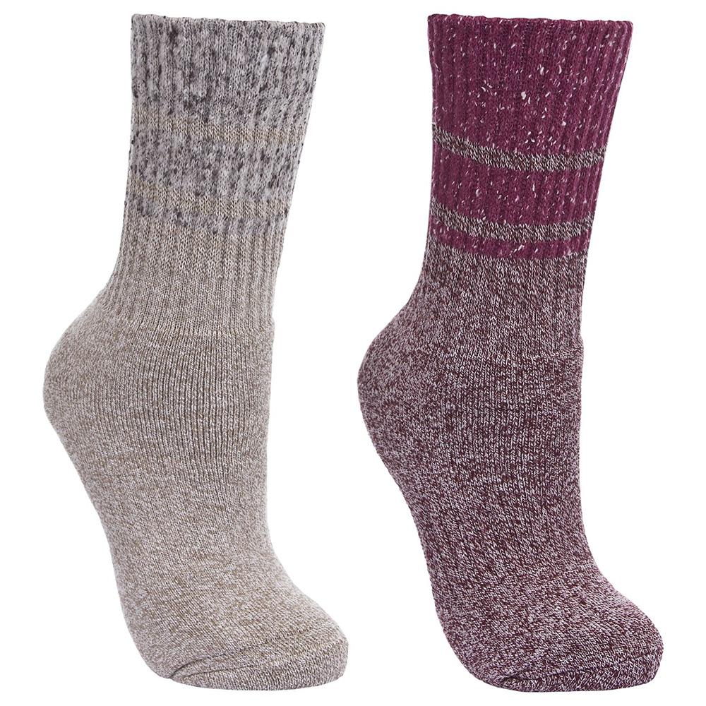 Trespass Womens Hadley Hiking Socks - Twin Pack - Grape Wine / Oatmeal - 6-9