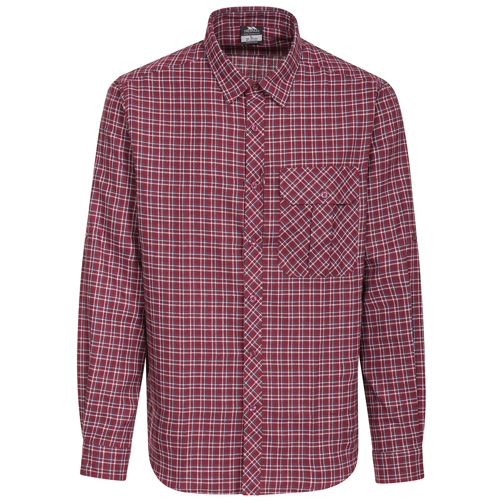 Trespass Mens Snyper Checked Long Sleeved Shirt-red Check-m
