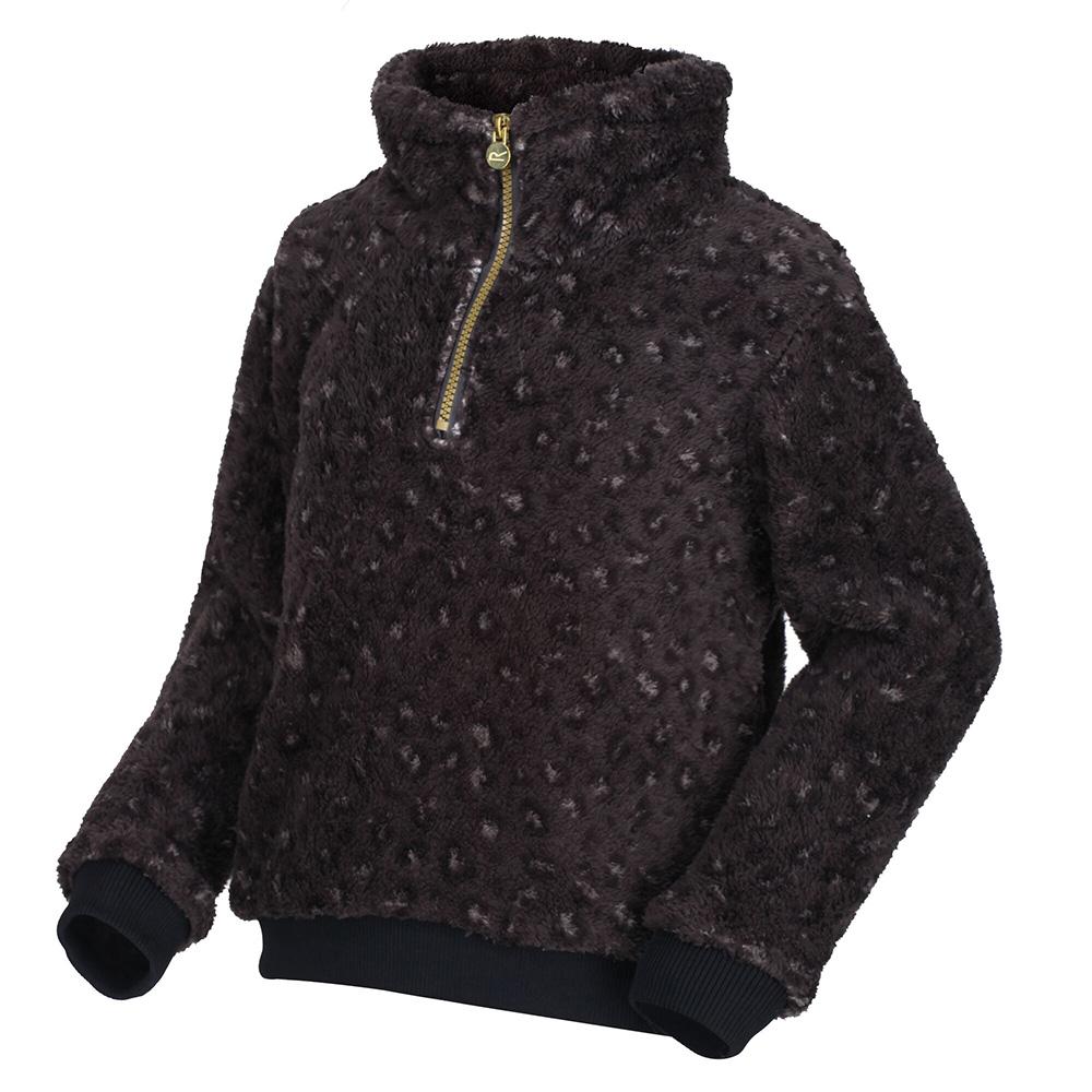 Regatta Kids Kessie Half Zip Fleece-black Leopard-5-6 Years