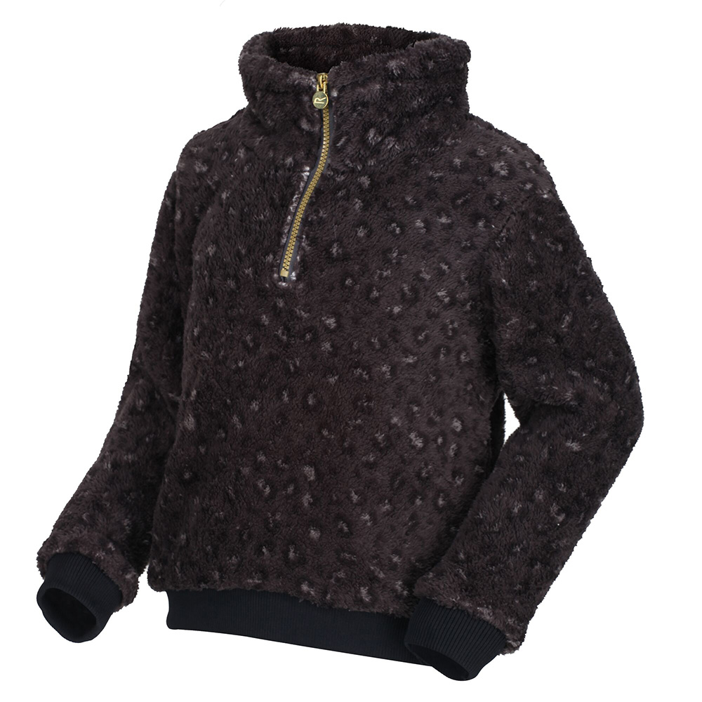 Regatta Kids Kessie Half Zip Fleece-black Leopard-9-10 Years
