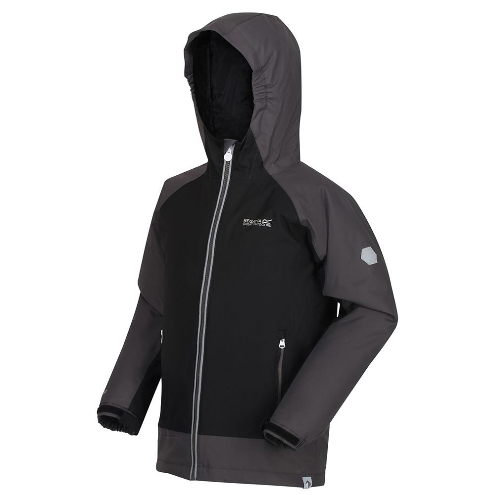 Regatta Kids Hurdle Iii Waterproof Jacket-black / Magnet-5-6 Years