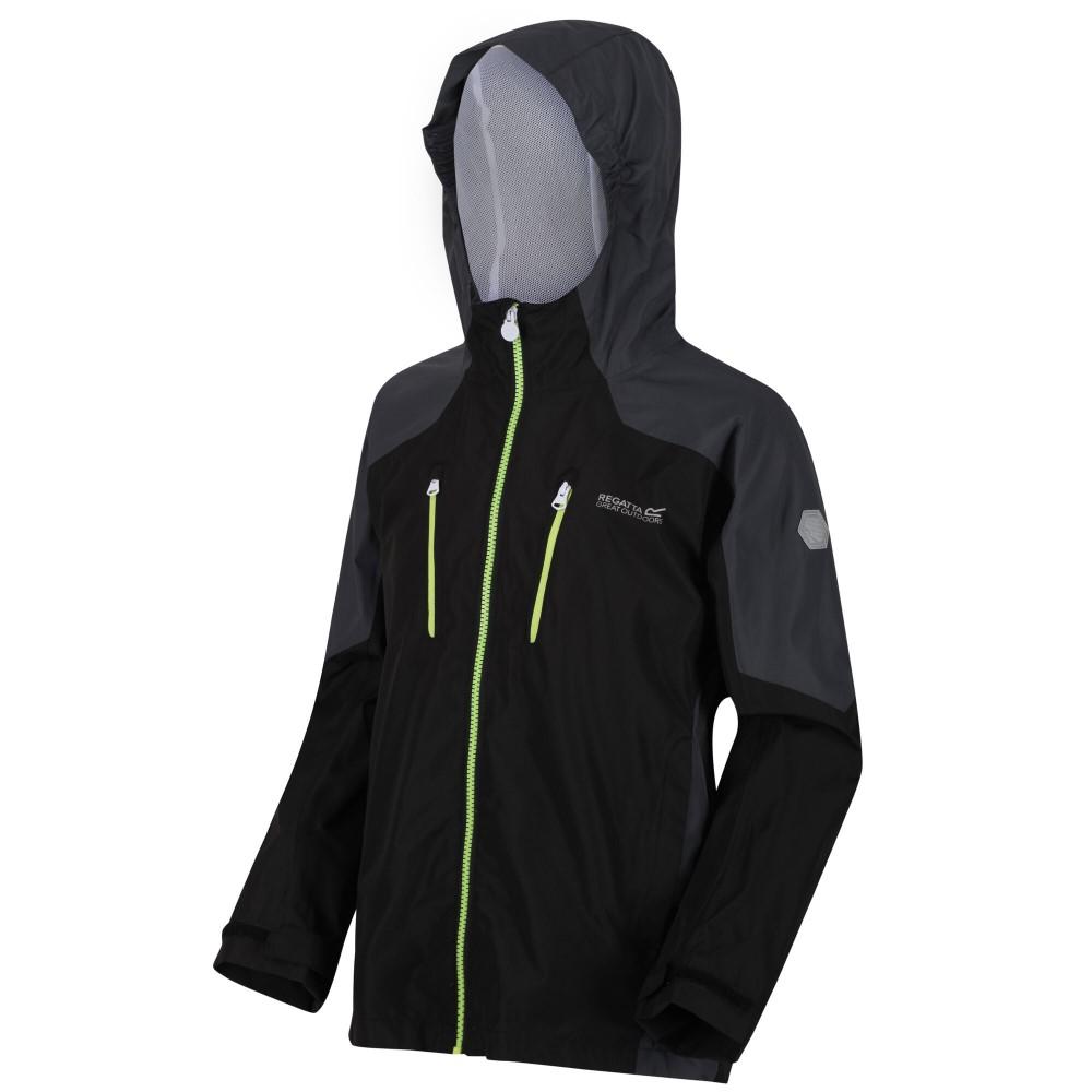 Regatta Kids Calderdale Waterproof Jacket-black / Seal Grey-5-6 Years