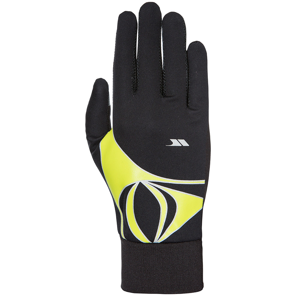 Trespass Unisex Runero Running Gloves-black / Kiwi-m