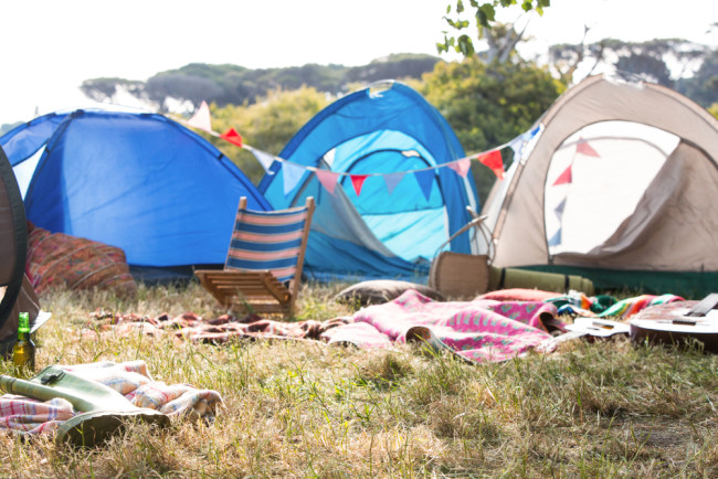 Camping at music festival