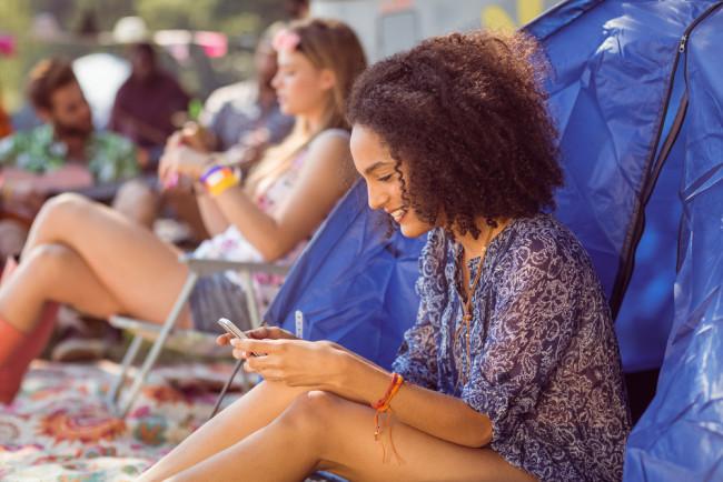 Girl camping at festival