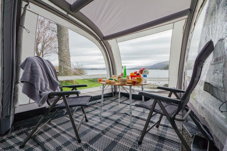 Inside Vango awning with camping table